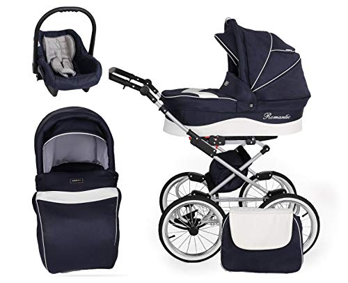 Retro Kinderwagen 3in1 2in1 Isofix Kombikinderwagen Set + Zubehör Farbauswahl Romantic Grey by ChillyKids Marine Jeans 05 2in1 ohne Babyschale