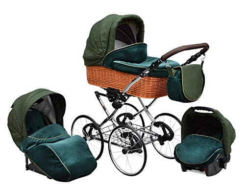 SKYLINE Klassisch Retro Stil Wicker LUX Kombi-Kinderwagen Buggy 3in1 Reise System Autositz (Isofix) (Sea Green/17'Räder)